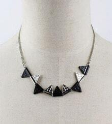 Black Contrast Sliver Triangle Chain Necklace
