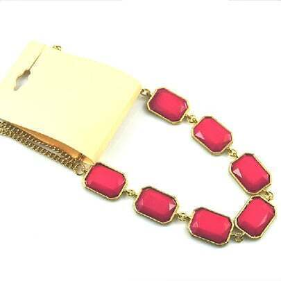 Rose Red Gemstone Gold Chain Necklace