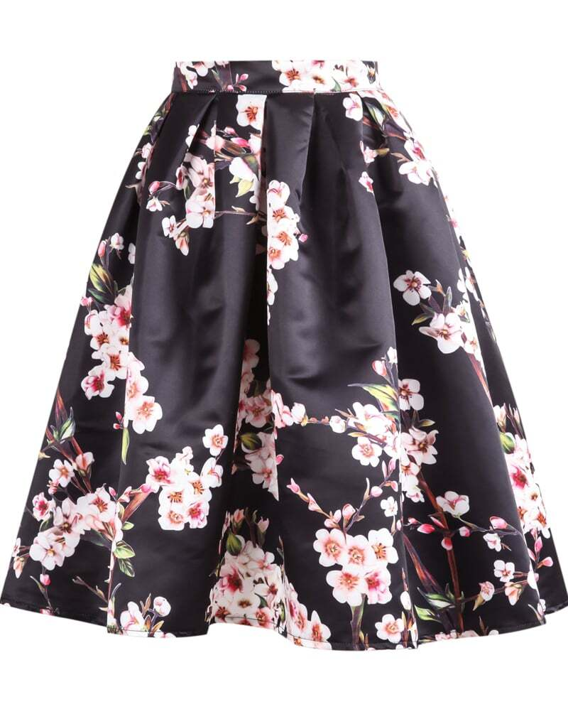 Black Floral Pleated Skirt -SheIn(Sheinside)