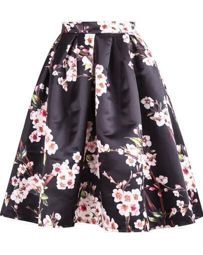 Black Floral Pleated Skirt