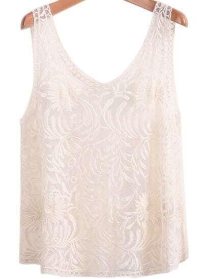 Apricot Sleeveless Embroidered Gauze Lace Vest