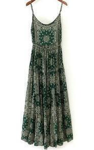 Green Spaghetti Strap Totem Print Pleated Dress