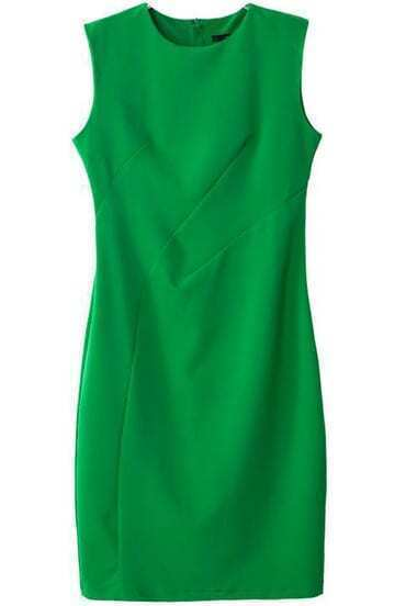 Green Round Neck Sleeveless Slim Bodycon Dress