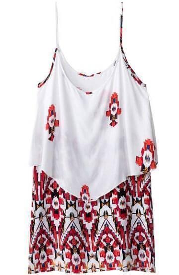 Red White Spaghetti Strap Geometric Print Dress