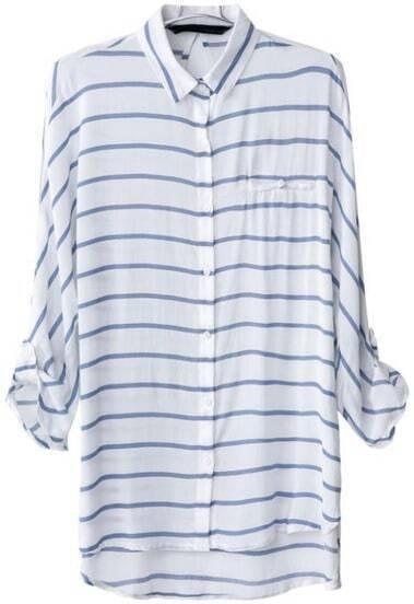 Blue White Striped Lapel Dipped Hem Blouse