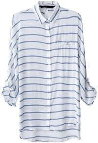 Blue White Striped Lapel Dipped Hem Blouse