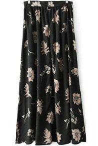 Black Split Pleated Maxi Skirt