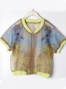 Yellow Short Sleeve Floral Organza Jacket