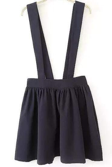 Black Strap High Waist Pleated Pinafore Skirt