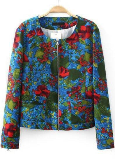 Blue Long Sleeve Floral Crop Jacket