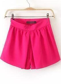 Red Side Zipper Straight Shorts