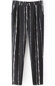 Black Vertical Stripe Loose Pant
