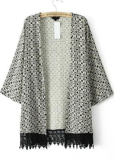 Black Long Sleeve Geometric Print Lace Outerwear