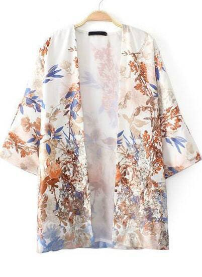 White Short Sleeve Floral Birds Print Outerwear