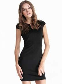 Black V Neck Short Sleeve Slim Bodycon Dress