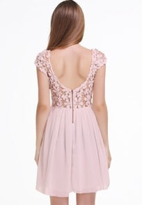 Pink Short Sleeve Hollow Floral Crochet Pleated Dress