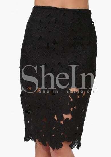 Black Hollow Floral Crochet Skirt