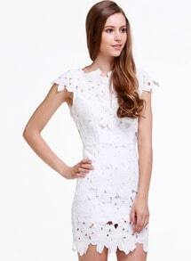 White floral dress with sleeves