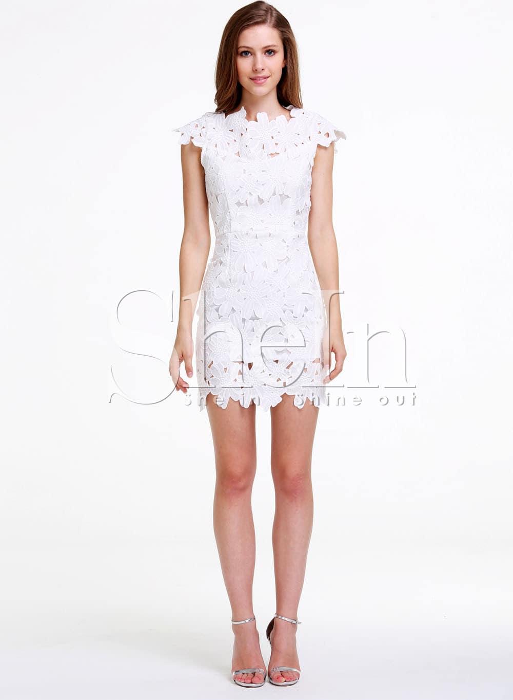 White Short Sleeve Floral Crochet Bodycon Dress -SheIn(Sheinside)
