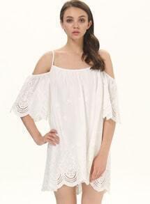 White Spaghetti Strap Cold Shoulder Hollow Dress