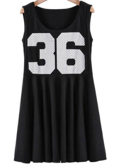 Black Sleeveless 36 Print Pleated Dress