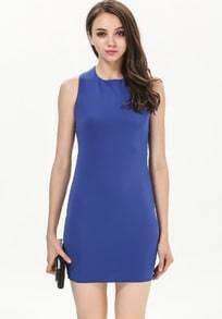 Blue Criss Cross Back Slim Bodycon Dress
