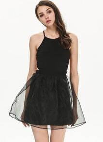 Black Criss Cross Backless Flare Dress