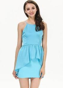 Blue Spaghetti Strap Slim Backless Dress
