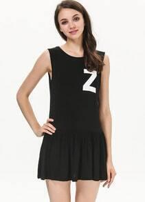Black Sleeveless Z Print Pleated Dress