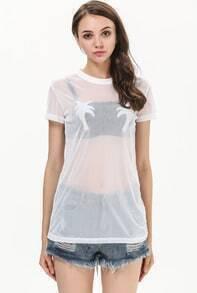 White Short Sleeve Flocked Sheer T-Shirt