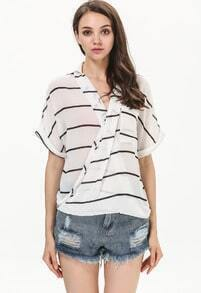 White V Neck Short Sleeve Striped Chiffon Blouse