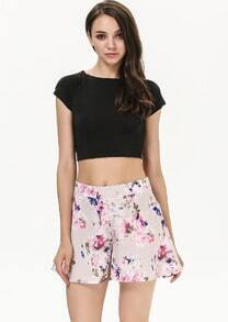 Apricot High Waist Floral Loose Chiffon Shorts
