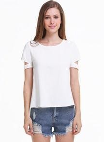 White Short Sleeve Cut Out Chiffon Blouse