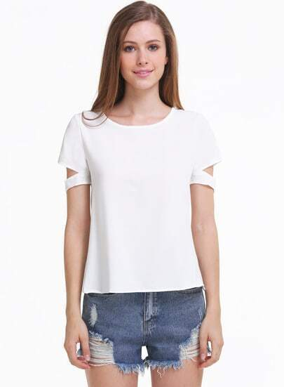 White Short Sleeve Cut Out Chiffon Blouse