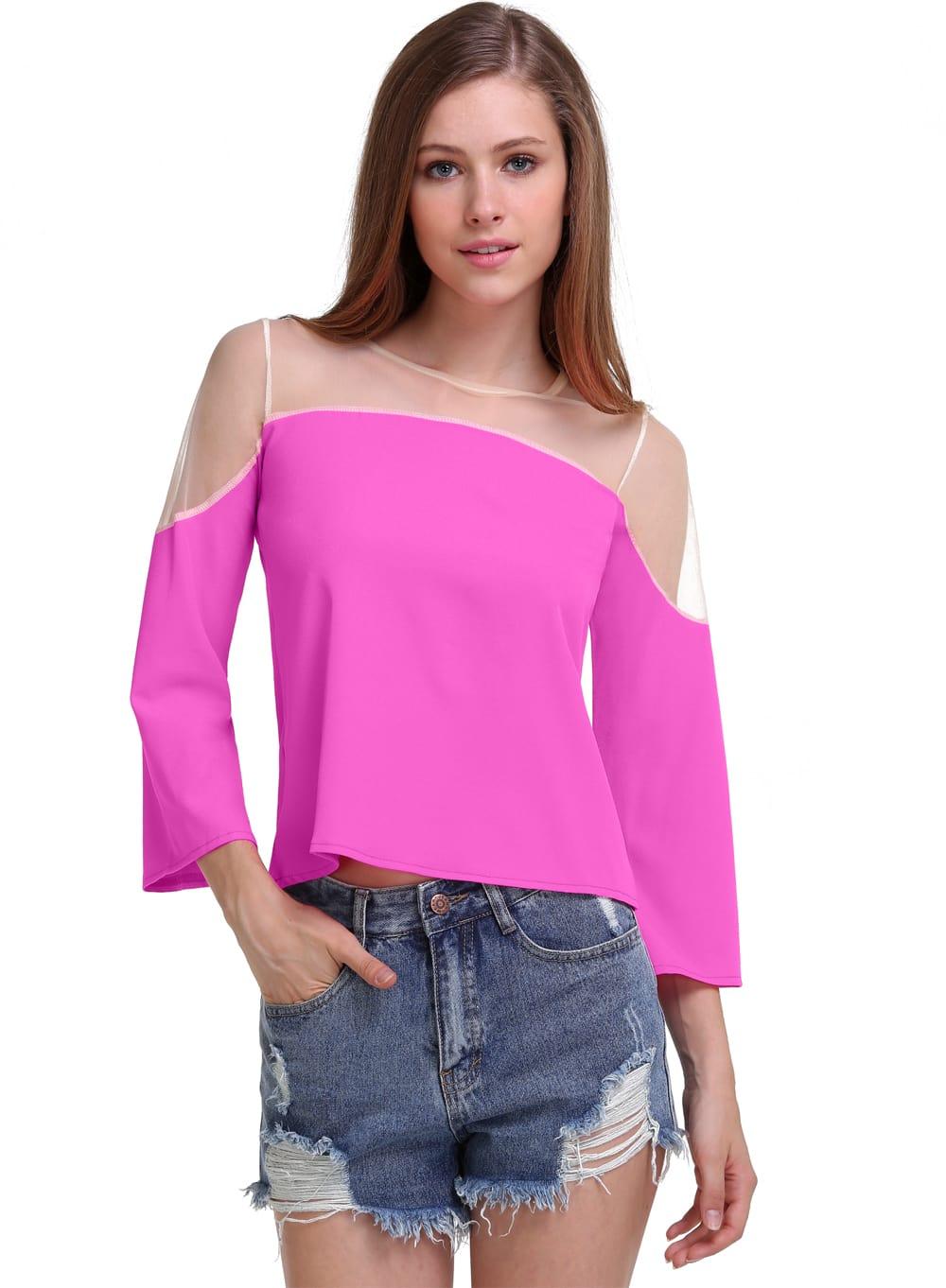 rose red contrast sheer mesh yoke chiffon blouse
