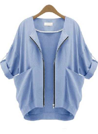 Blue Short Sleeve Zipper Pockets Coat