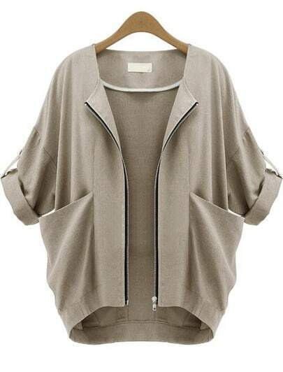 Apricot Short Sleeve Zipper Pockets Coat