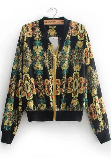 Black Long Sleeve Vintage Floral Jacket