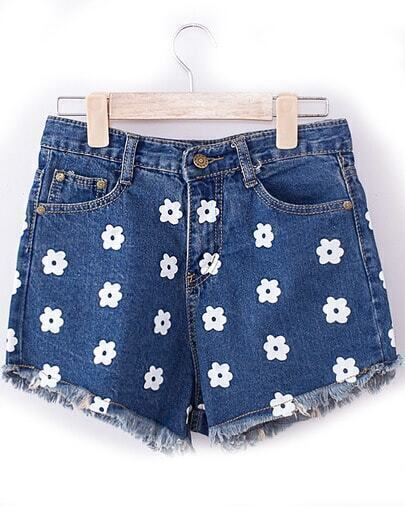 Blue Fringe Floral Denim Shorts