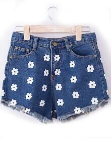 Blue Fringe Floral Denim Shorts