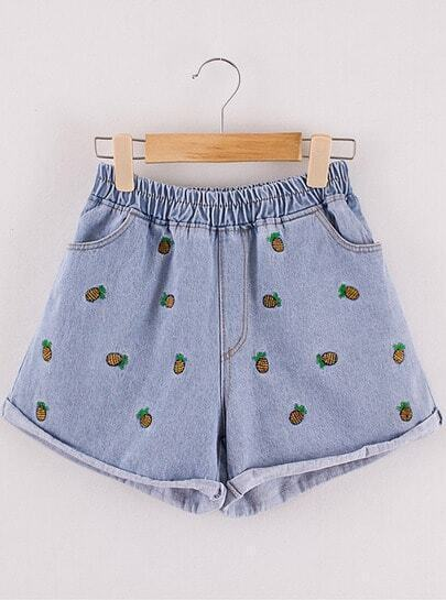 Blue Elastic Waist Pineapple Embroidered Shorts
