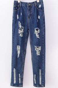 Blue Ripped Straight Denim Pant