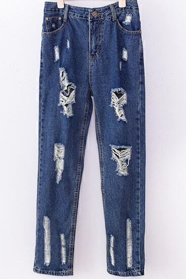Blue Ripped Straight Denim Pant