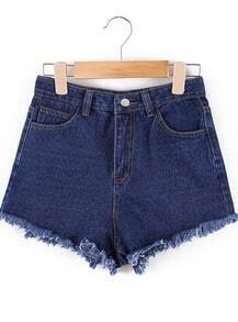 Navy Fringe Pockets Denim Shorts