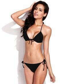 Black Push up Triangle Top Swimwear with Adjustable Halter Strap