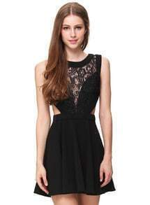 Black Sleeveless Contrast Lace Hollow Flare Dress