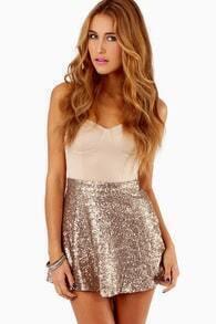 Gold Sequined Skater Skirt