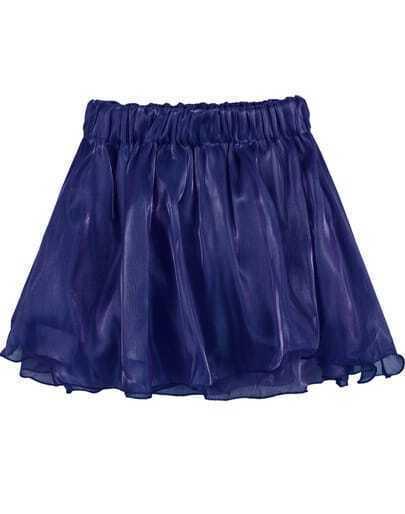 Blue Elastic Waist Ruffle Gauze Skirt