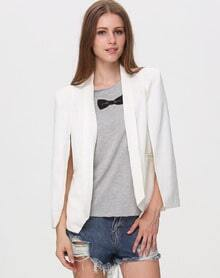White Lapel Split Long Sleeve Pockets Blazer