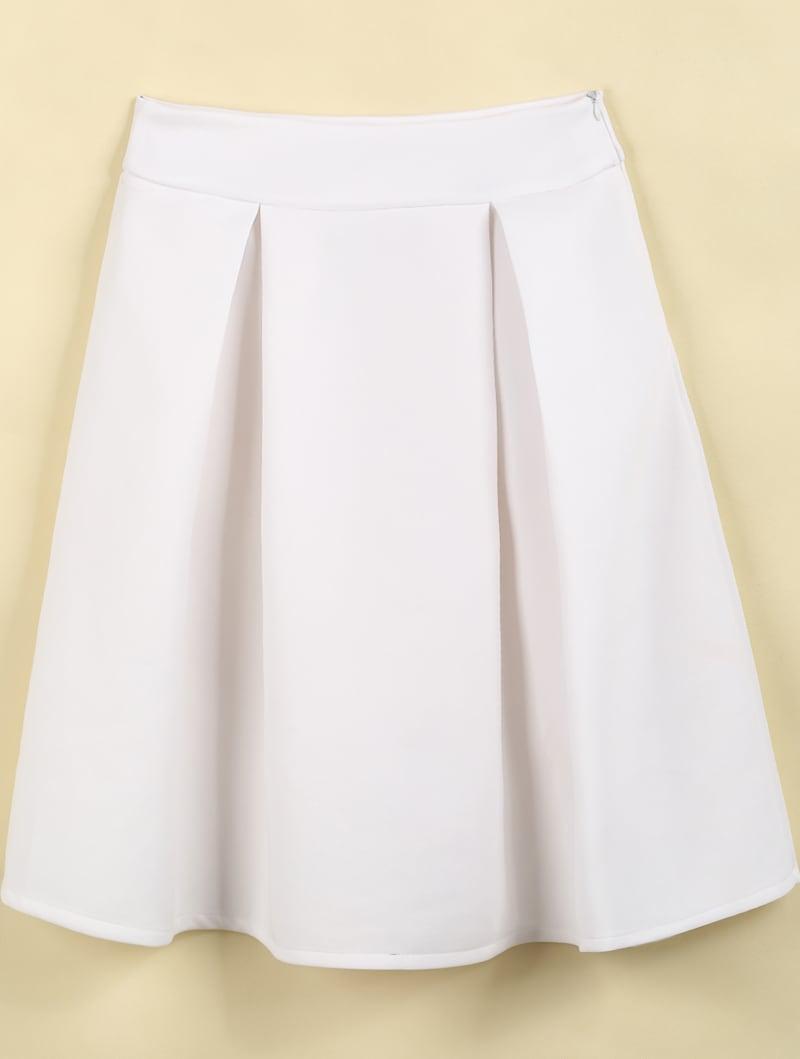 white high waist pleated skirt shein sheinside